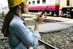 Woman Survey Train Safety Project Concept royalty free stock photo