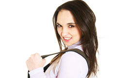 Woman with suspenders Royalty Free Stock Photos