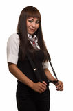 Woman in suspenders Stock Photography