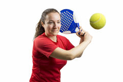 Woman swatting the ball Stock Photo