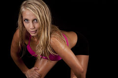 Woman sweat lean look pink Royalty Free Stock Photos