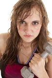 Woman sweat weight serious Royalty Free Stock Photos