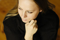 Woman in sweater Stock Images