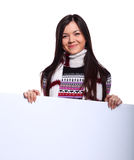 Woman in sweater with placard Royalty Free Stock Image