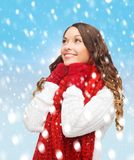 Woman in sweater, scarf and mittens Royalty Free Stock Image