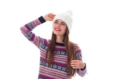 Woman in sweater and white hat Royalty Free Stock Photos
