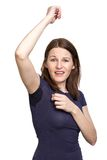 Woman sweating very badly under armpit Royalty Free Stock Image
