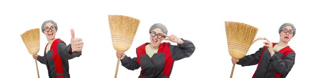 The woman with sweeping brush isolated on white. Woman with sweeping brush isolated on white royalty free stock photography