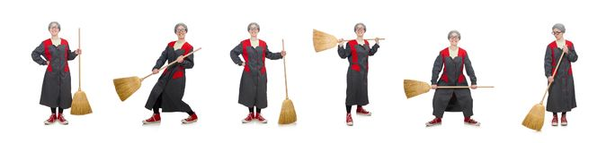 The woman with sweeping brush isolated on white. Woman with sweeping brush isolated on white stock image