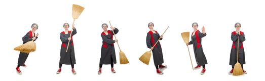 The woman with sweeping brush isolated on white. Woman with sweeping brush isolated on white stock photography