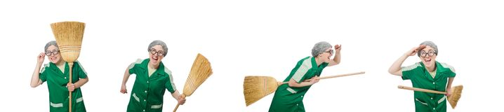 The woman with sweeping brush isolated on white. Woman with sweeping brush isolated on white stock photo