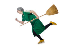 Woman with sweeping brush isolated on white Stock Images
