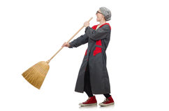 Woman with sweeping brush isolated on white Stock Image