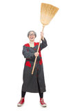 Woman with sweeping brush isolated on white Royalty Free Stock Image
