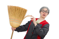 Woman with sweeping brush isolated on white Royalty Free Stock Photography