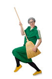 Woman with sweeping brush Stock Photos