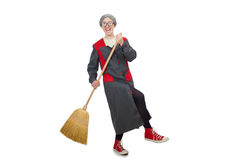Woman with sweeping brush Stock Photography