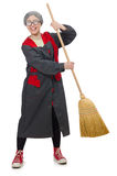 Woman with sweeping brush Royalty Free Stock Photography