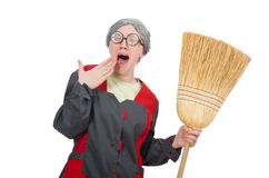 Woman with sweeping brush Royalty Free Stock Image