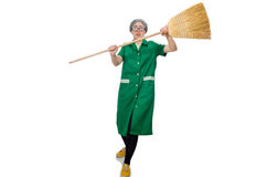 Woman with sweeping brush Royalty Free Stock Photo