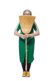 Woman with sweeping brush Stock Photo
