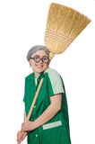 Woman with sweeping brush Stock Image