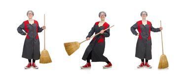 The woman with sweeping brush isolated on white. Woman with sweeping brush isolated on white stock images