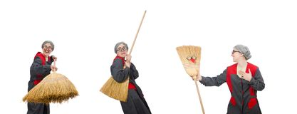 The woman with sweeping brush isolated on white. Woman with sweeping brush isolated on white royalty free stock photo