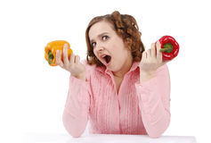 Woman with sweet pepper. Royalty Free Stock Image