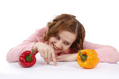 Woman with sweet peppers. Stock Photography