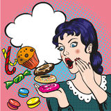 Woman with sweets, candy and cakes. Vector illustration in retro comic pop art style Royalty Free Stock Photography