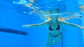 Woman swim in blue pool Royalty Free Stock Images