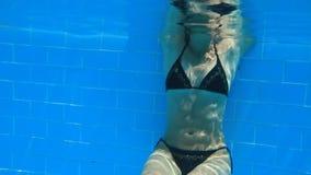 Woman swim in blue pool Stock Photography