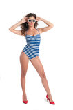 Woman with swim wear in white background Royalty Free Stock Photography