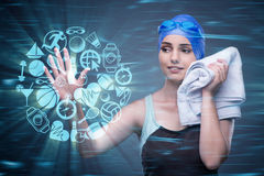 The woman swimmer in sports concept Royalty Free Stock Photos
