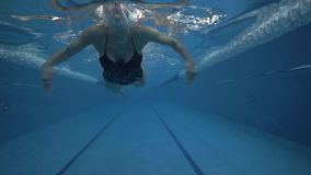 Woman swimmer swimming breaststroke in waterpool underwater view. Close up young woman swims breaststroke on water path in a swimming pool 60 fps stock footage