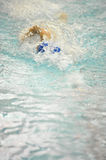 Woman swimmer swimming fast. Woman swimming fast in swim meet competition Royalty Free Stock Photography