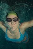 Woman swimmer underwater Stock Photos