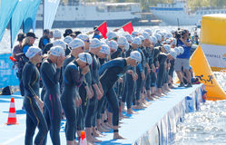 The woman swimmers just before the start signal Stock Photography