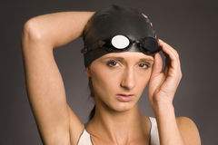 Woman swimming cap goggles swimmer athlete royalty free stock image