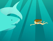 Woman swimming in the deep ocean with big shark. Royalty Free Stock Photos