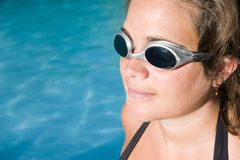 Woman with swimming goggles Stock Photo