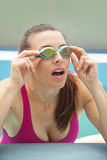 Woman with swimming goggles Royalty Free Stock Photography
