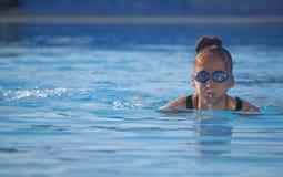 Woman Swimming In Pool Stock Photos