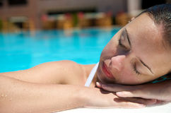 Woman at swimming pool Royalty Free Stock Images