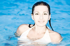 Woman of  Swimming Pool Royalty Free Stock Photography