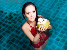 Woman in the swimming pool. Beautiful young brunette woman relaxing in the swimming pool and drinking coconut milk Stock Photography