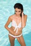Woman in swimming pool. Stock Photos
