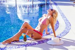 Woman in swimming pool. Blonde woman in hat at the swimming pool Royalty Free Stock Images