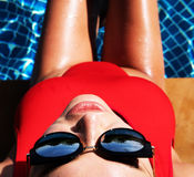 Woman at the swimming pool Stock Images
